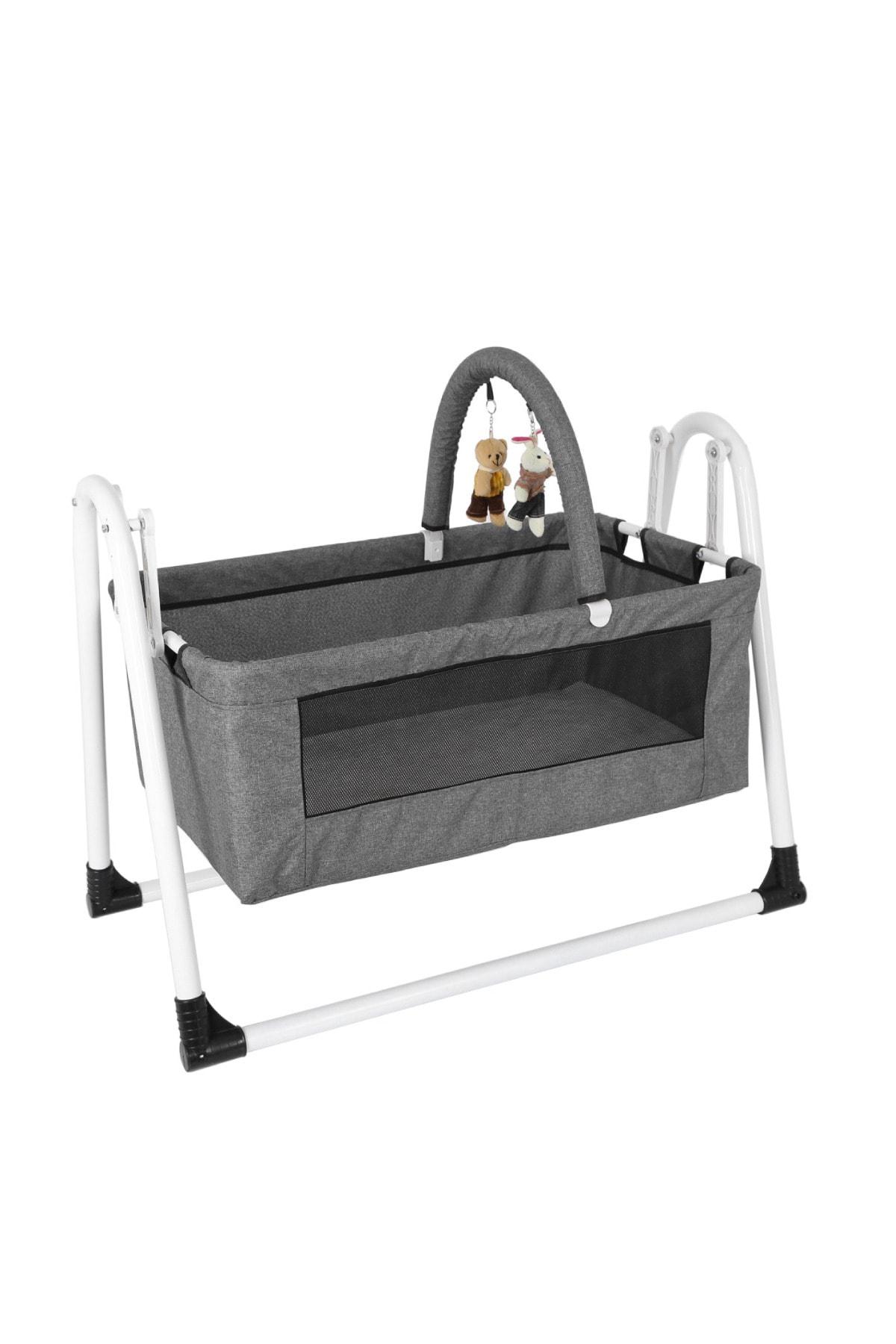 Jimmy Baby Beşik Yıkanabilir Kumaş Bebek Beşiği Oyuncaklı Portatif Sepet Beşik Gri Beşik