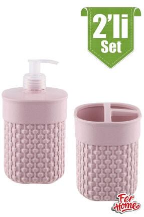 FERHOME 2'li Banyo Seti Sıvı Sabunluk Diş Fırçalığı Banyo Seti Diş Fırçalık Sıvı Sabunluk Deterjanlık 1