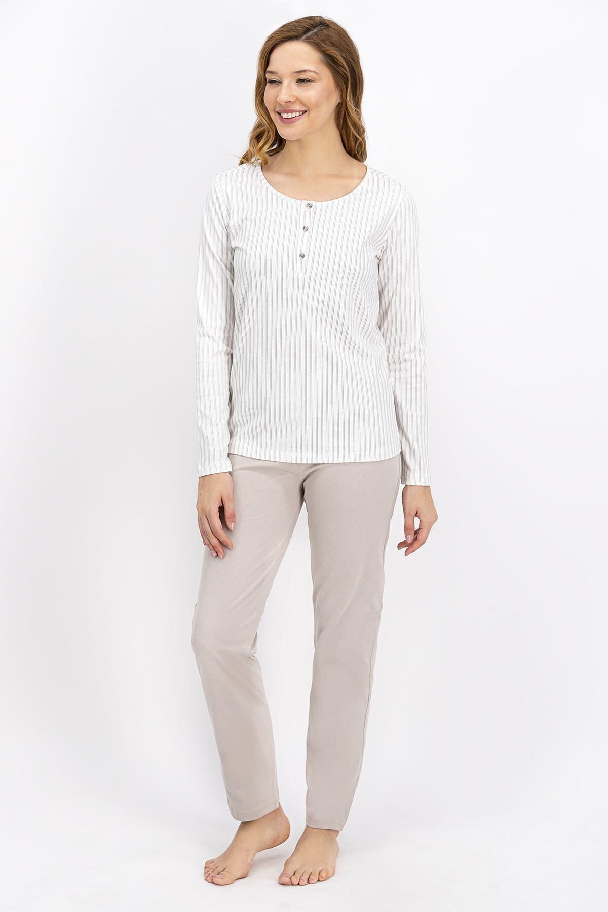 Kadın Krem Basic Pijama Takımı