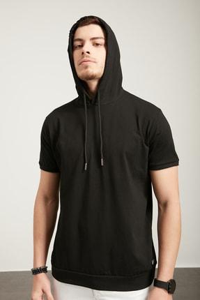 Tena Moda Erkek Siyah Kapşonlu Etek Bantlı Tişört 1