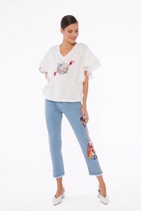GIZIA Kadın Mavi İşlemeli Pantolon M1d040 0