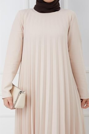Moda Krash Kadın Bej Piliseli Soley Elbise 1