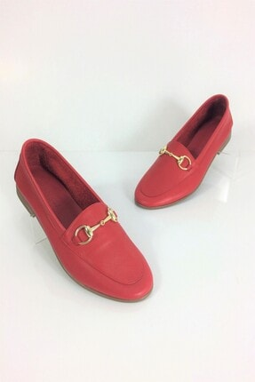 Kadın Kırmızı Deri Babet Incelten Etki TDKYG-001