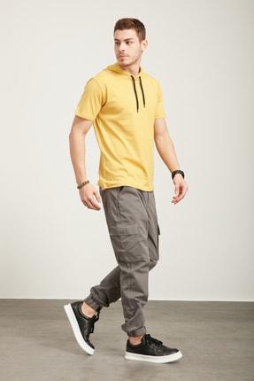 Tena Moda Erkek Hardal Kapüşonlu Düz Tişört 4