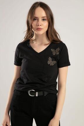 Pattaya Kadın V Yaka Kelebek Detaylı Duble Kol Tişört Y20s134-1138 0