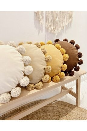 Hestia Home Ponponlu Kırlent Ponpon Yastık Bej 50 x 50 cm 0