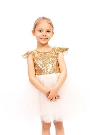 Altın Payetli Beyaz Elbise ST00086A