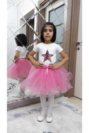 Kız Çocuk Misineli Kabarık Tül Tütü Etek Ve Pulpayet Yıldız T-shirt Kombin SBK2002-1001