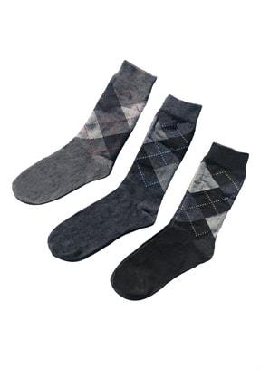 TAMPAP 12'li Paket Ekonomik Ekose Desen Pamuklu Erkek Çorap 2