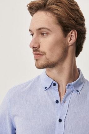 Altınyıldız Classics Erkek Açık Mavi Tailored Slim Fit Dar Kesim Düğmeli Yaka Keten Gömlek 2