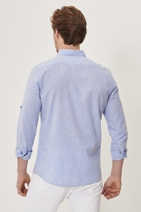 Altınyıldız Classics Erkek Açık Mavi Tailored Slim Fit Dar Kesim Düğmeli Yaka Keten Gömlek 3