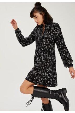 Defacto Kadın Volan Detaylı Dokuma Gömlek Elbise 1