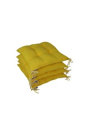 Konforcu Sarı Duck Keten 4'lü Fırsat Set Sandalye Minderi 0