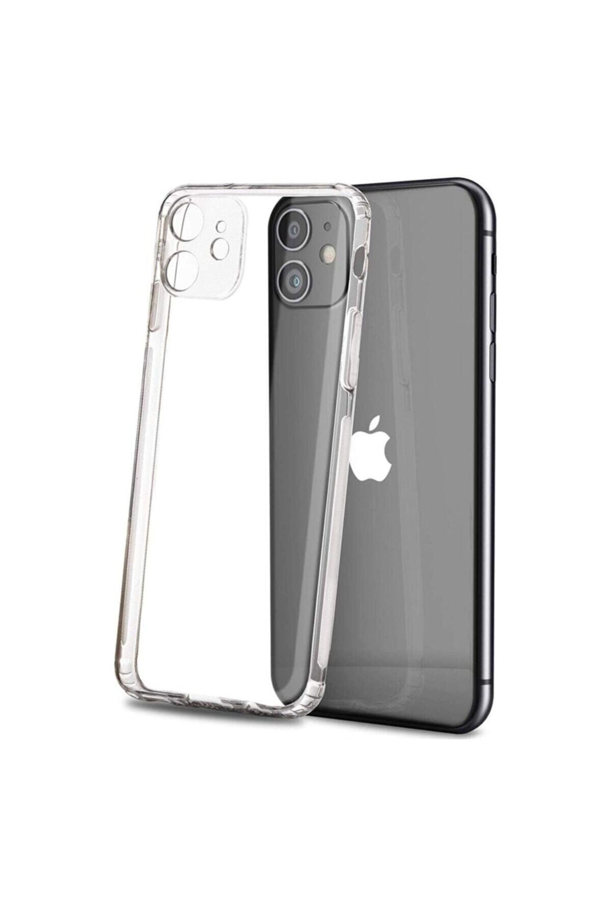 Apple Iphone 12 6.1 Kılıf Kamera Korumalı Tıpalı Şeffaf Kristal Silikon Kapak