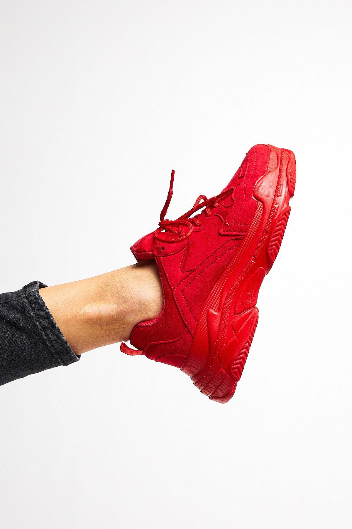 Kadın Spor Ayakkabı Kırmızı Süet Bls-q -> 38 -> Kırmızı Süet