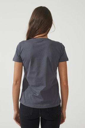CROSS JEANS Kadın Antrasit Bisiklet Yaka Regular Basic T-shirt 55795-021 2