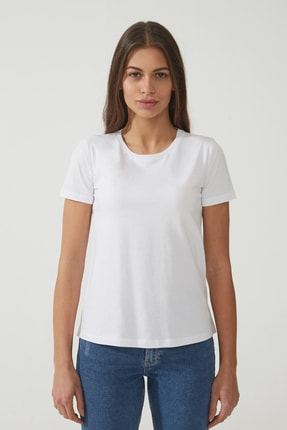 CROSS JEANS Kadın Beyaz Bisiklet Yaka Regular Basic T-shirt 55795-008 1