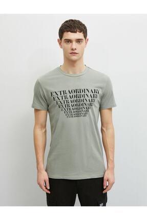 Koton Erkek Yeşil Pamuklu Yazı Baskılı Kısa Kollu Bisiklet Yaka T-Shirt 2