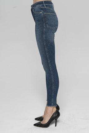 CROSS JEANS Judy Koyu Mavi Yüksek Bel Paçası Kesikli Yanı Dikişli Skinny Fit Jean Pantolon 3