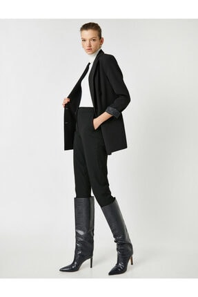 Koton Kadın Siyah Cepli Pantolon 0