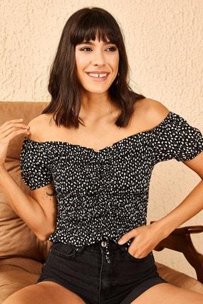 Bianco Lucci Kadın Siyah Madona Yaka Gipeli Önü Ayarlanabilir Bluz 10951022 0