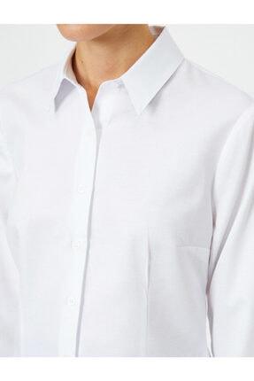 Koton Kadın Beyaz Uzun Kollu Gömlek 4