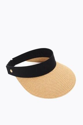 Külah Kadın Geniş Siperli Camel Vizör Hasır Plaj Şapkası 0
