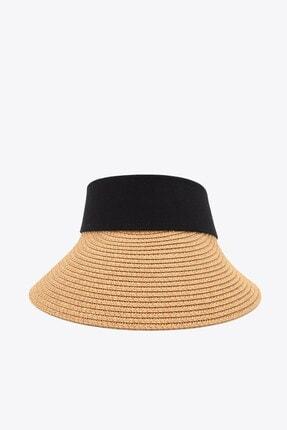 Külah Kadın Geniş Siperli Camel Vizör Hasır Plaj Şapkası 1