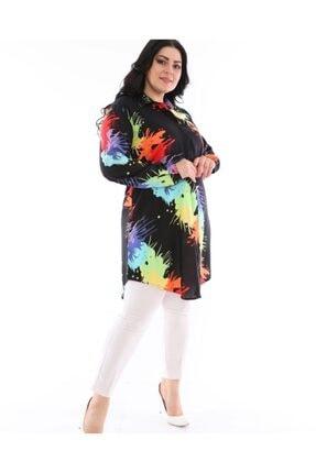 LBB FASHİON Kadın Siyah Tunik Gömlek 2