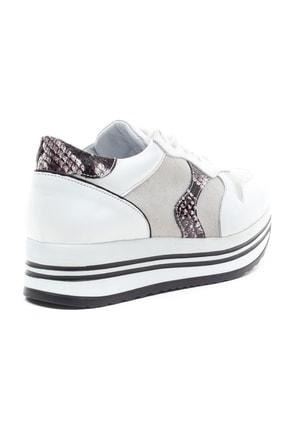 GRADA Kadın Beyaz Hakiki Deri Bağcıklı Sneaker 4