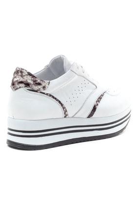 GRADA Beyaz Hakiki Deri Kalın Taban Sneaker Ayakkabı 4