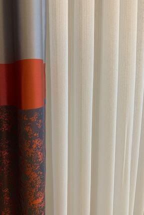 perfect curtain Pilesiz Çizgili Tül Düz Dikiş 3