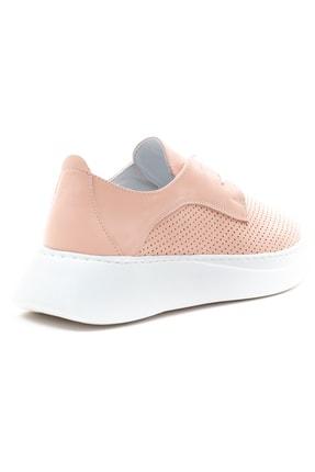 GRADA Kadın Pudra Hakiki Deri Yüksek Taban Sneaker 4