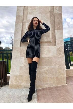 Siyah Taş Işleme Kadife Elbise 3997MKSP
