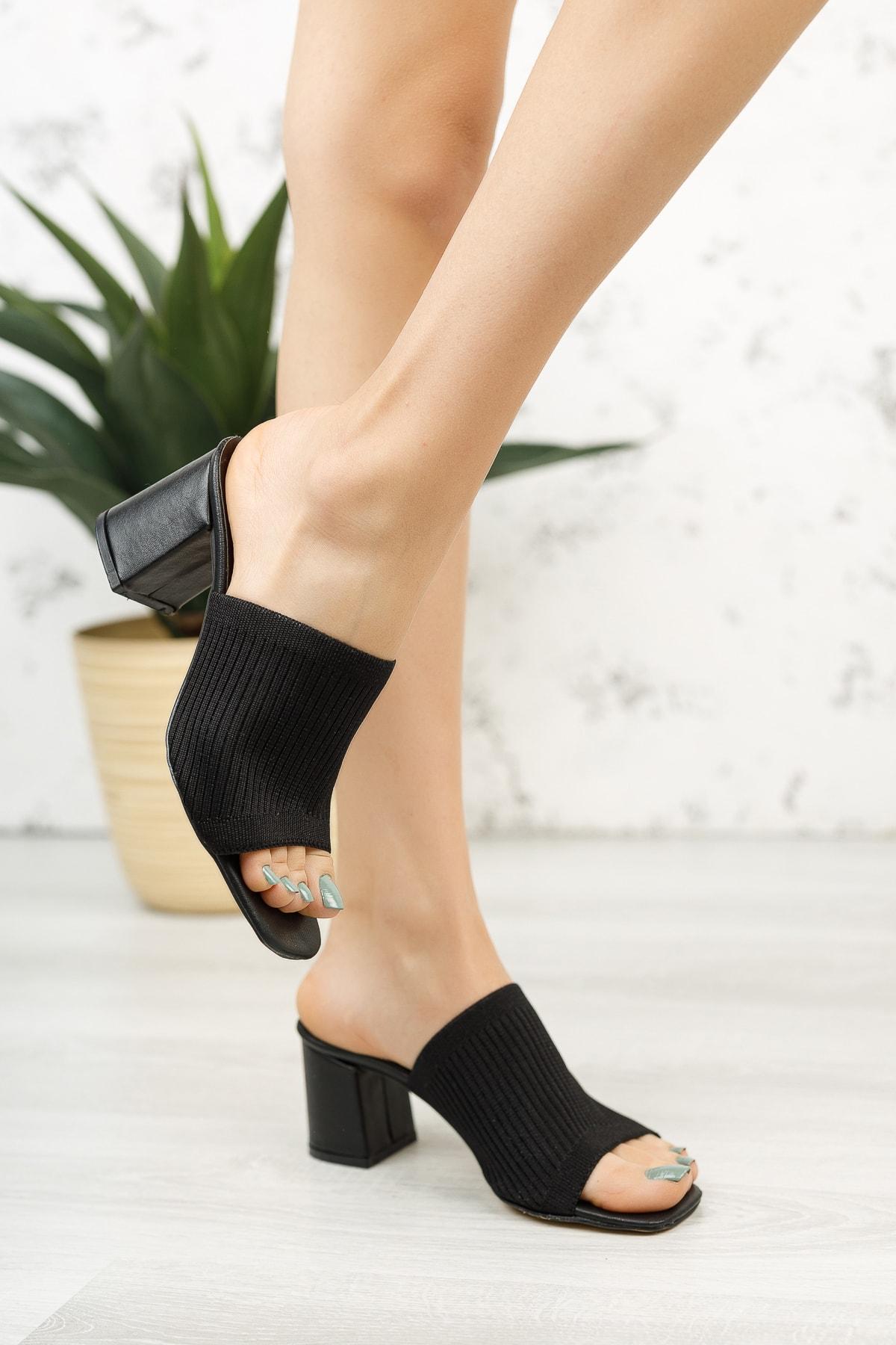 Kadın Topuklu Triko Terlik Md1050-122-0005