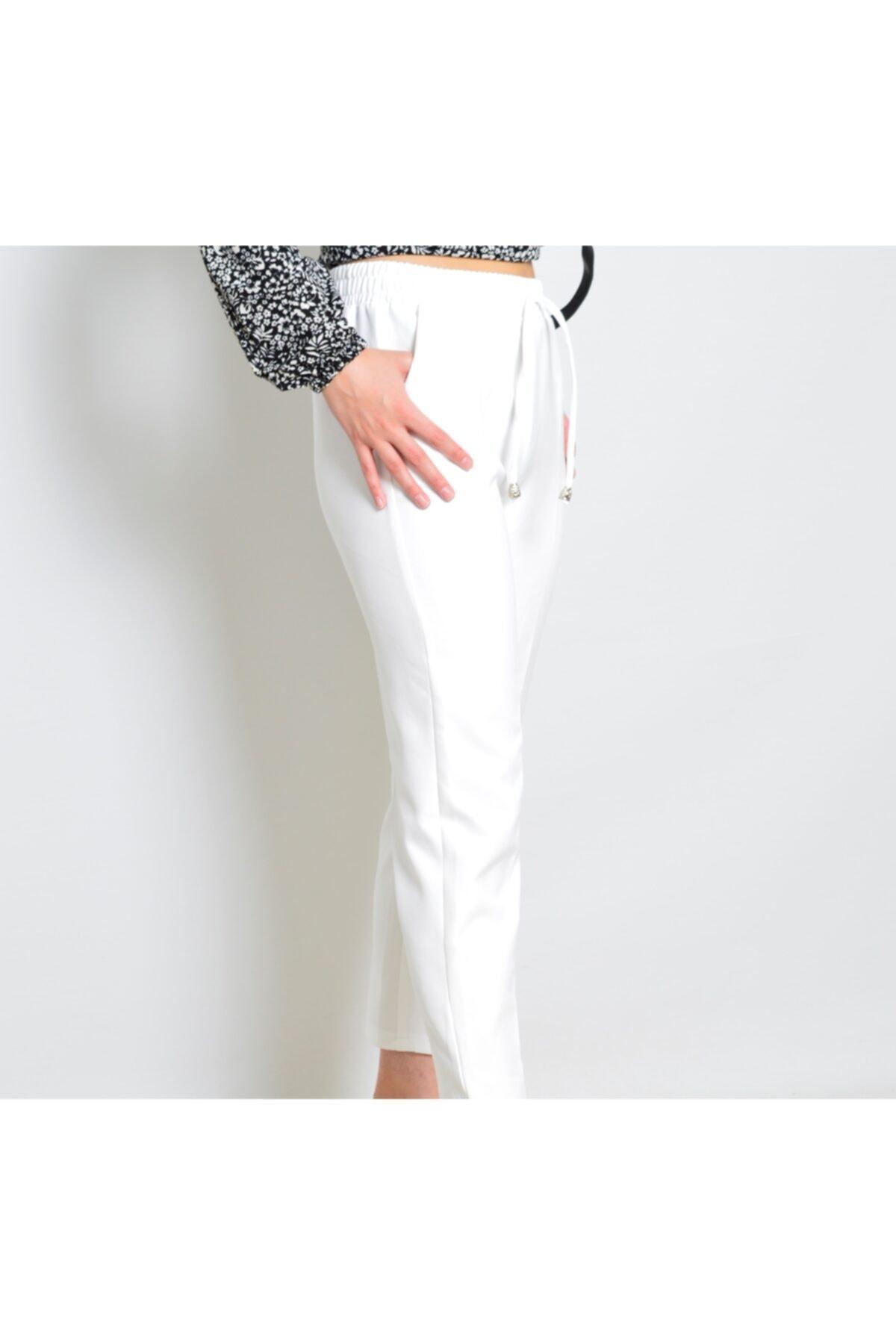 Kadın  Beyaz Kumaş Bel Lastikli Pantolon