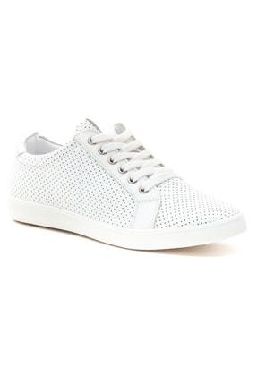 GRADA Kadın Beyaz Mikro Delikli Hakiki Deri Günlük Sneaker Ayakkabı 2