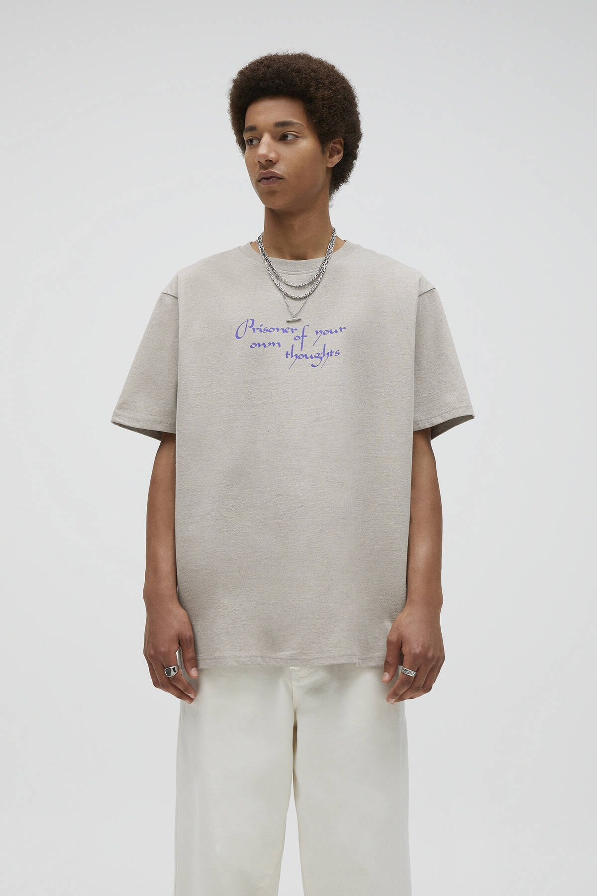 Pull & Bear Kavruk Menekşe Rengi Sloganlı T-Shirt 04241567 0