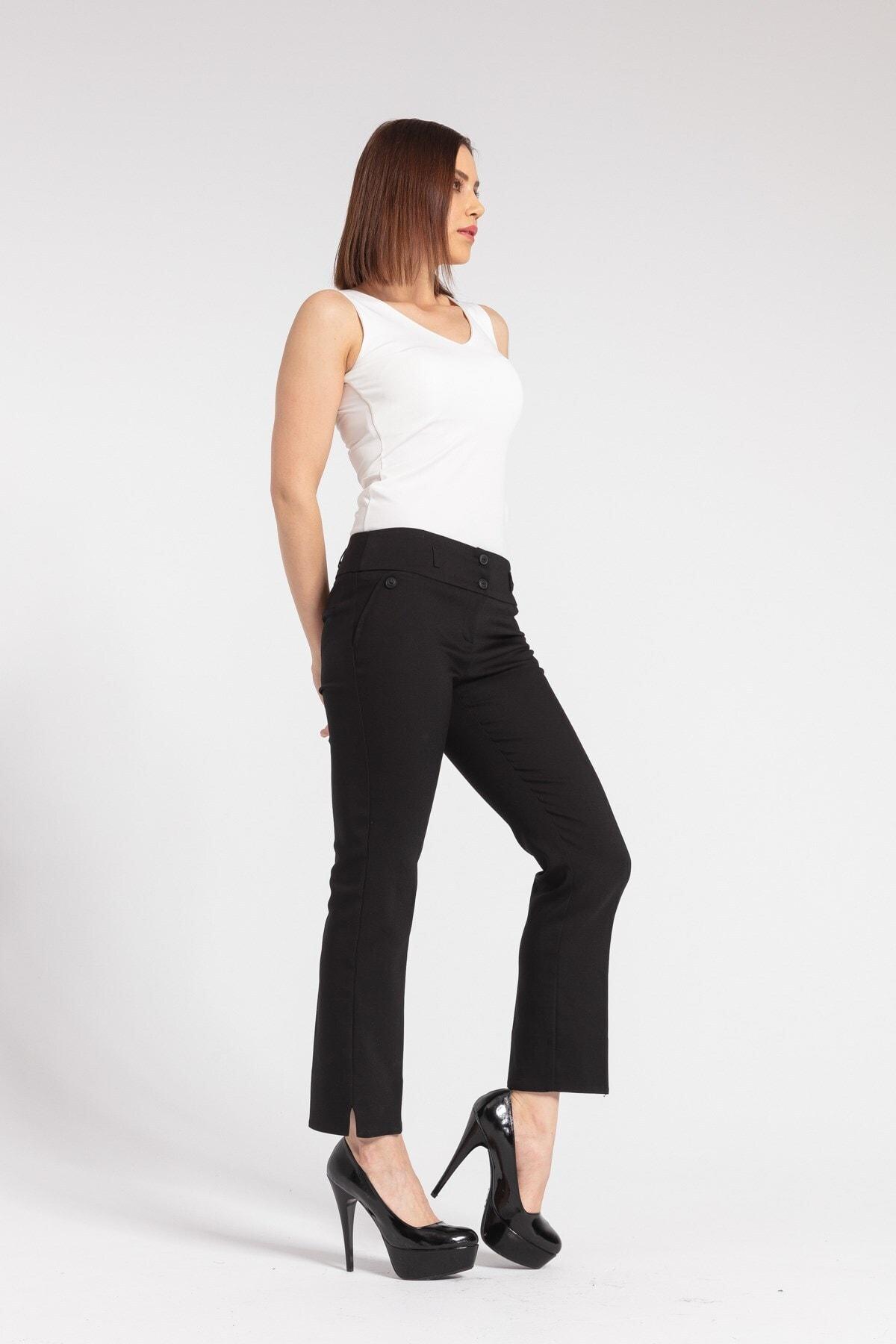Kadın Siyah Yüksek Bel Yırtmaçlı Paça Pantolon
