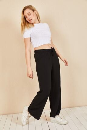 Moda Bu Kadın Siyah Beli Lastikli Bol Paça Salaş Yazlık Pantolon Aerobin-865829 1