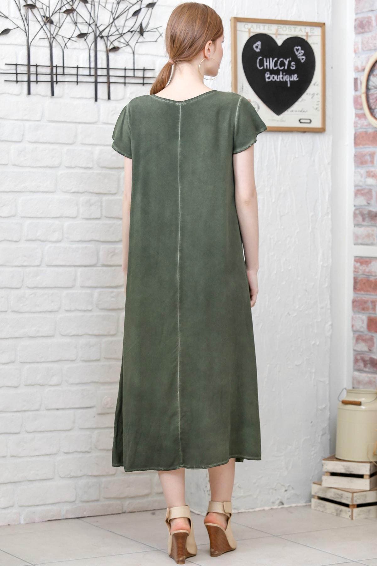 Chiccy Kadın Siyah Sıfır Yaka Süzene Çiçek Aplikeli Salaş Yıkamalı Elbise M10160000EL95154 3