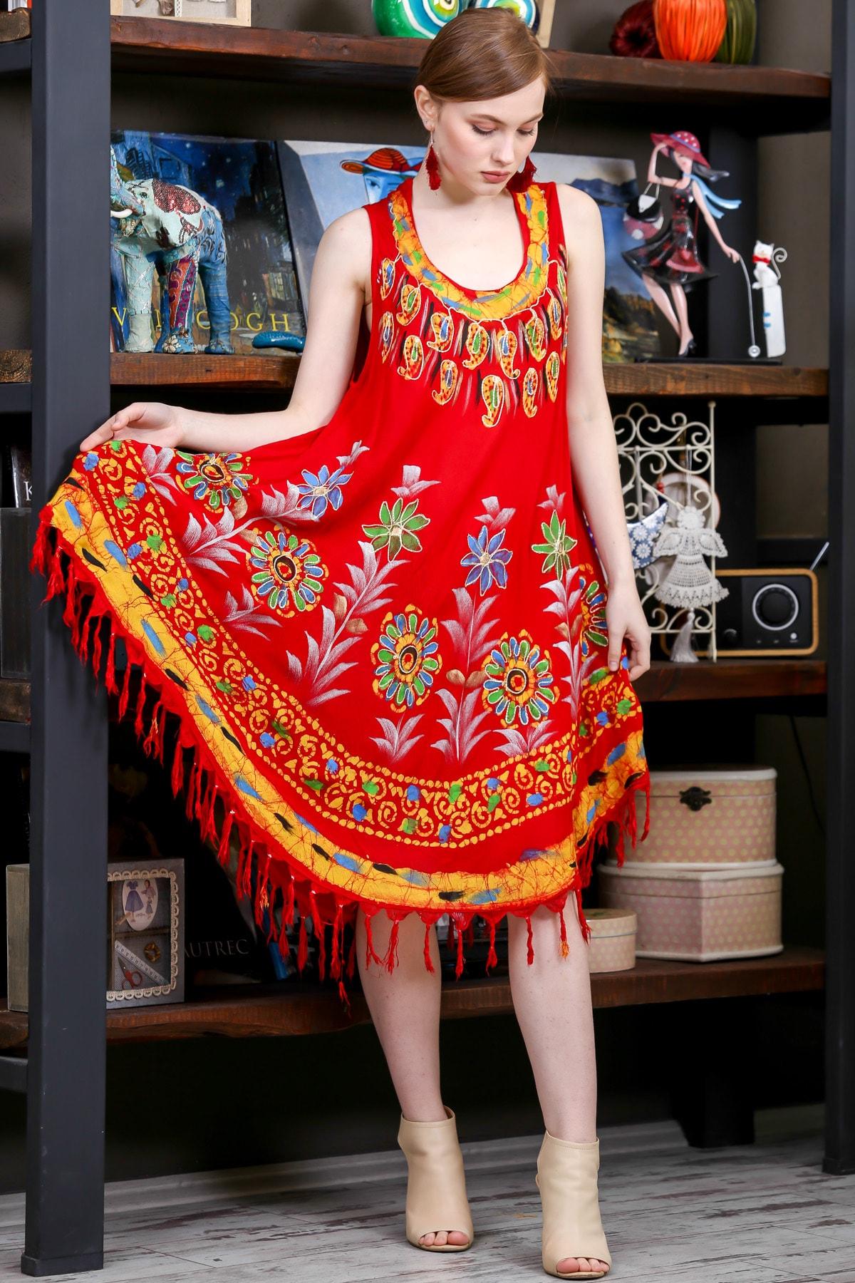 Chiccy Kadın Kiremit Batik Yakası Ve Etek Ucu Çiçek Desenli Salaş Dokuma Elbise M10160000EL95137 0