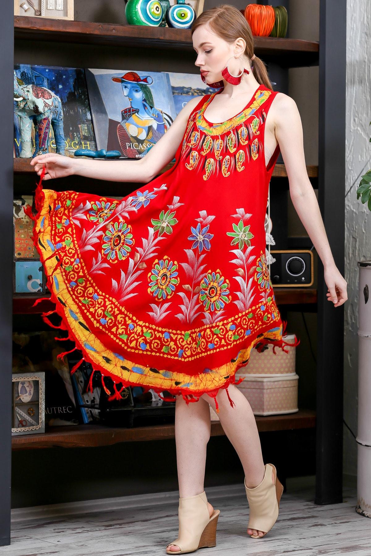 Chiccy Kadın Kiremit Batik Yakası Ve Etek Ucu Çiçek Desenli Salaş Dokuma Elbise M10160000EL95137 2