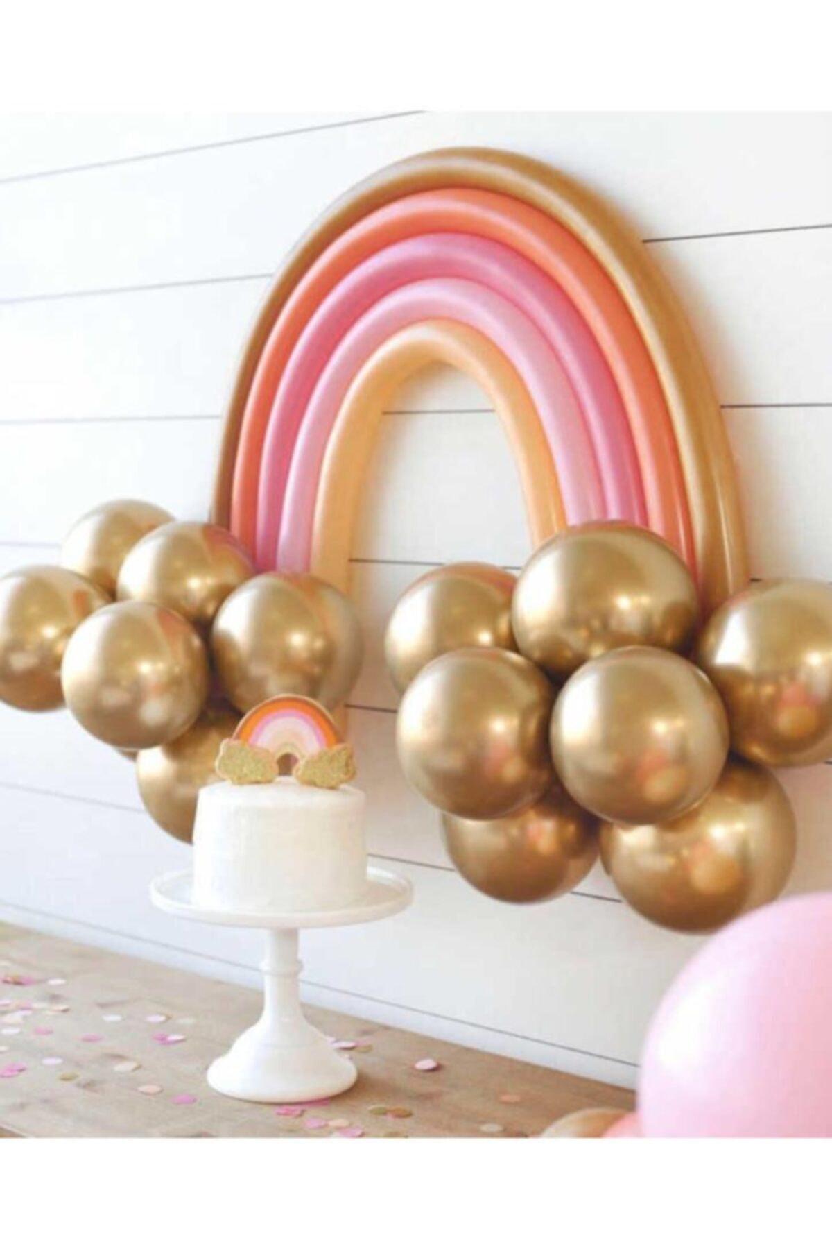 Gold Makaron Gökkuşağı Balon Set