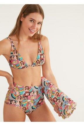 Suwen Yüksek Bel Yanı Biyeli Desenli Bikini Alt 0
