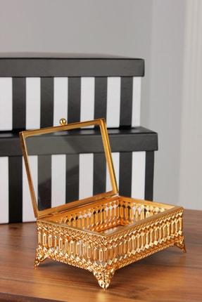 Inci Küçük Dikdörtgen Sandık Takı Kutusu Mücevher Kutusu Yüzük Kutusu Altın 15,5x10,5x6,5 Cm COS-MT1048