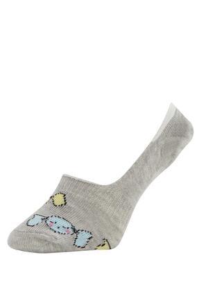Defacto Kız Çocuk Desenli  Babet Çorap 3'lü 2