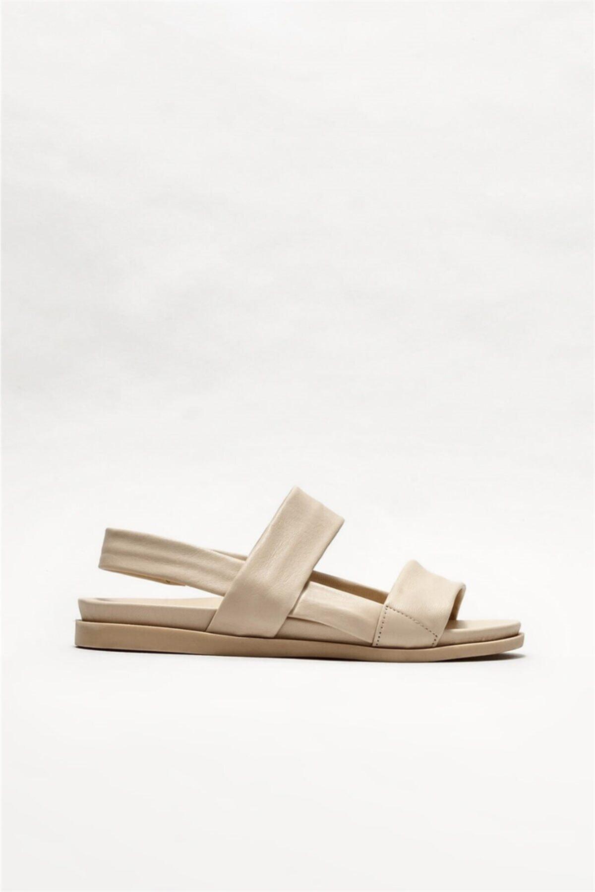 Kadın Bej Deri  Düz Sandalet