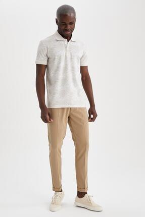Defacto Slim Fit Polo Yaka Floral Desenli Kısa Kollu Tişört 1