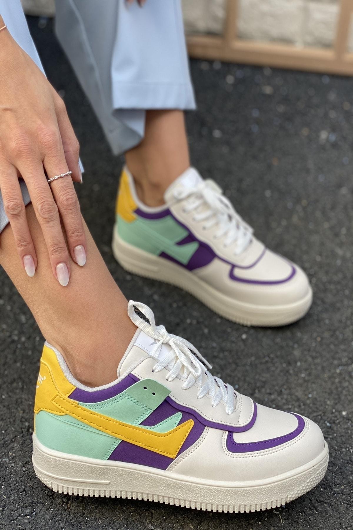 Kadın Beyaz&Mor&Sarı Spor Ayakkabı&Sneaker INA100